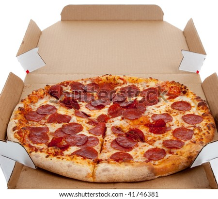 Pepperoni pizza in a box on a white background - stock photo