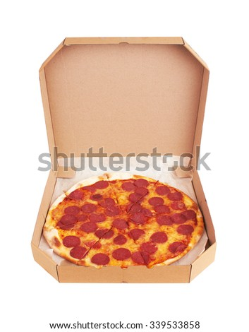 Pepperoni Pizza in box, isolated on white background