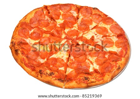 Pepperoni pizza isolated on a white background - stock photo
