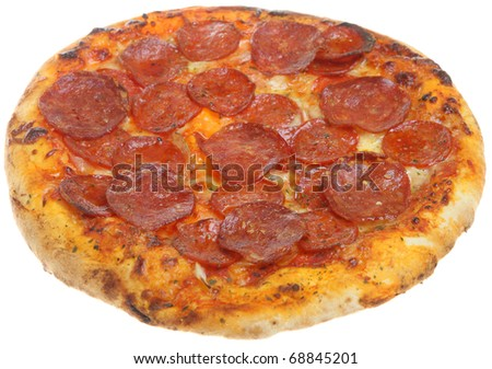Pepperoni pizza isolated on white.