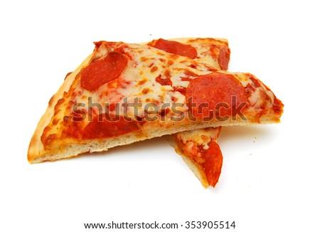 Pepperoni Pizza slice on white background  - stock photo