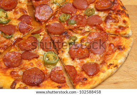 Pepperoni pizza with green chilli peppers