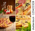 Pepperoni pizza with ingredients and wineglass set - stock photo