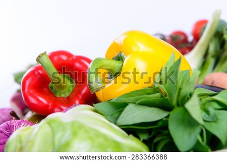 peppers and different ripe vegetables healthy eating vegetarian - stock photo