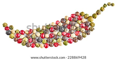 Peppers colored mixture of hot pepper, red pepper, black pepper, white pepper, green pepper on white background. Concept decorative forms peppercorn. Isolated on white background. Food close-up - stock photo