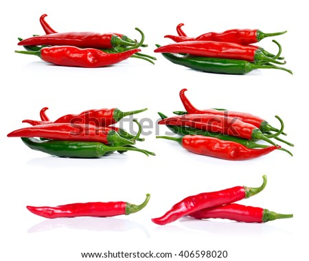 peppers isolated on white background - stock photo