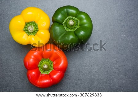Peppers on slate table
