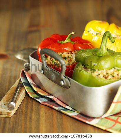 Peppers stuffed with bulghur - stock photo