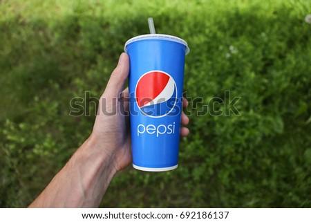 Pepsi cup in hand - Ukraine, Kiev - July 17, 2017