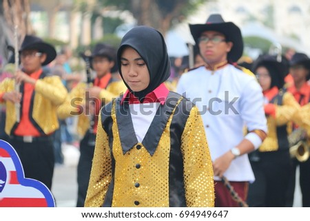 PERAK, MALAYSIA, AUGUST  31, 2015 - Malaysia National Day Parade from all government agency. Hari Merdeka (Malaysian for 'Independence Day'), also known as Hari Kebangsaan (National day)