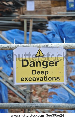 PERAK, MALAYSIA  SEPTEMBER 17, 2015: Warning deep excavation beyond this hoarding, danger deep excavation at the construction site in Malaysia