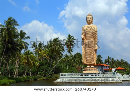 Peraliya Buddha Statue, the Tsunami Memorial in Hikkaduwa, Sri Lanka - stock photo