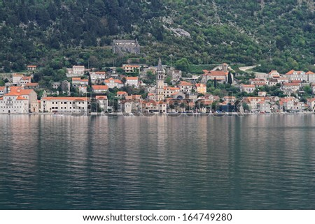 Perast cityscape at Kotor bay in Montenegro