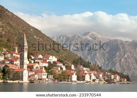 PERAST, MONTENEGRO. Beautiful landscape with mediterranean town - Perast, Kotor bay (Boka Kotorska), Montenegro. Kotor Bay is a UNESCO World Heritage Site. - stock photo
