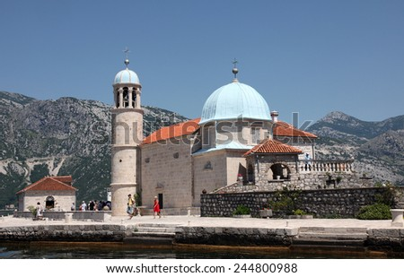 PERAST, MONTENEGRO - JUNE 08: Church of Our Lady of the Rocks, Perast, Montenegro, on June 08, 2012  - stock photo