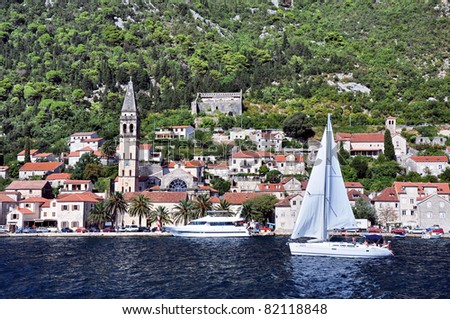 Perast town Boko kotor bay. Montenegro - stock photo
