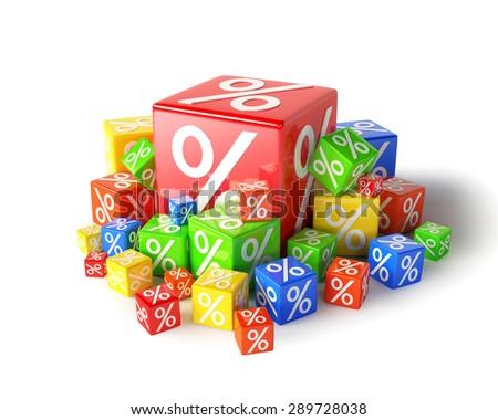 Percent cubes - stock photo