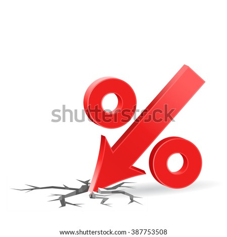 Percent down icon with surface crack, crisis concept sign, 3d raster on white background - stock photo