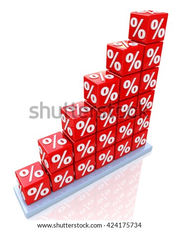 Percent growth - interest rate increase in the design of information related to trade and business. 3d illustration - stock photo