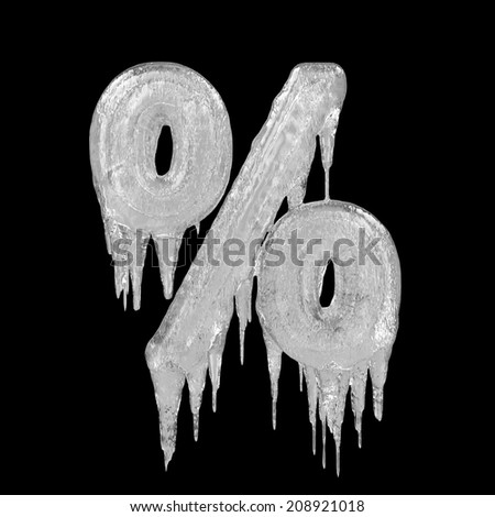 Percent. Ice font isolated on black background. Alphabet. - stock photo