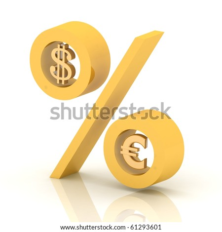 percent of dollar to euro - stock photo