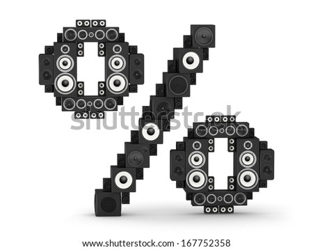 Percent sign from black woods hi-fi speakers sound systems - stock photo