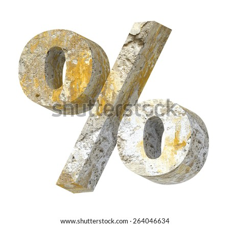 Percent sign from old concrete alphabet set isolated over white. Computer generated 3D photo rendering. - stock photo