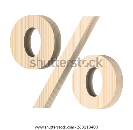 Percent sign from wooden alphabet set isolated over white. - stock photo