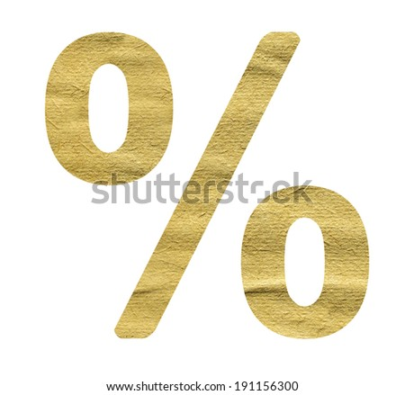 Percent Sign made from beige paper on a white background