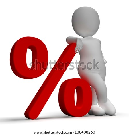 Percent Sign With 3d Man Showing Percentage Or Discount - stock photo