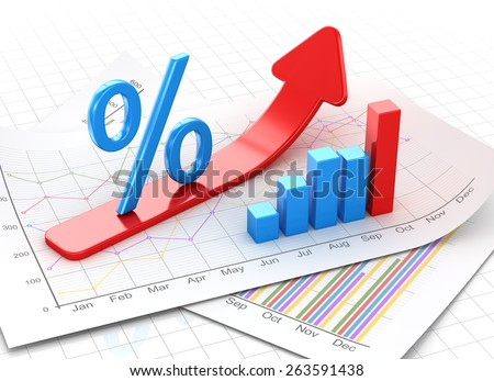 Percent symbol and business chart on financial paper, red arrow moving up. 3d render and computer generated image. - stock photo