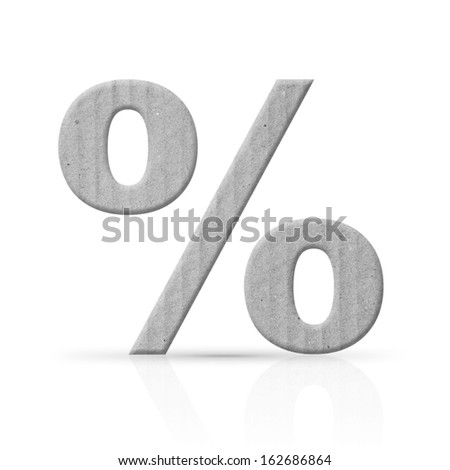 percent symbol cardboard - stock photo