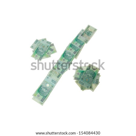 Percent symbol character- isolated with clipping patch on white background. Letter made of Polish hundred zlotys green bank notes - 100 PLN. - stock photo