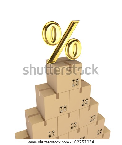 Percent symbol on a carton boxes.Isolated on white background.3d rendered. - stock photo