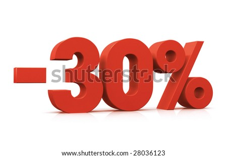Percentage, -30% - stock photo