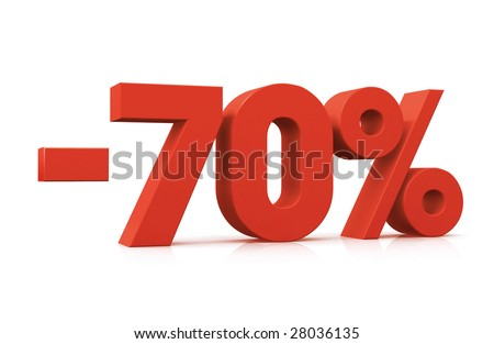 Percentage, -70% - stock photo