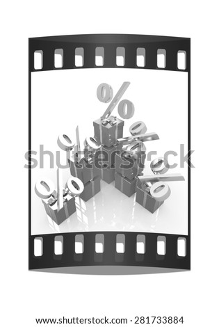 Percentage and gifts on a white background. The film strip - stock photo