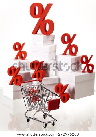 Percentage, Concept of discount colorful tone - stock photo
