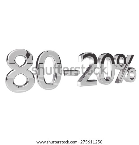 Percentage 80-20, isolated over white background, 3d render, square image - stock photo