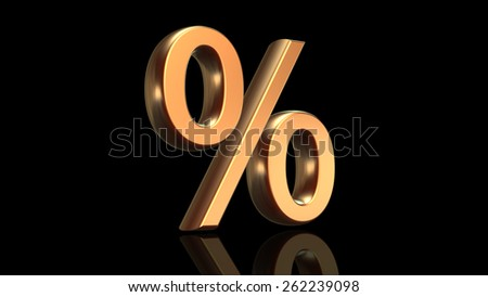 Percentage sign, percent symbol in gold isolated on black background