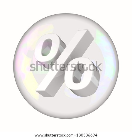 Percentage symbol in soap bubble as unsafe investment concept - stock photo