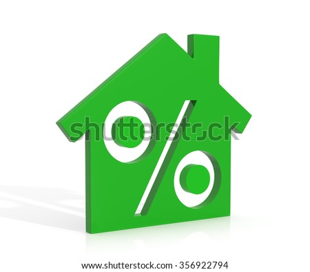 Percentage symbol inside the house isolated on a white background - stock photo