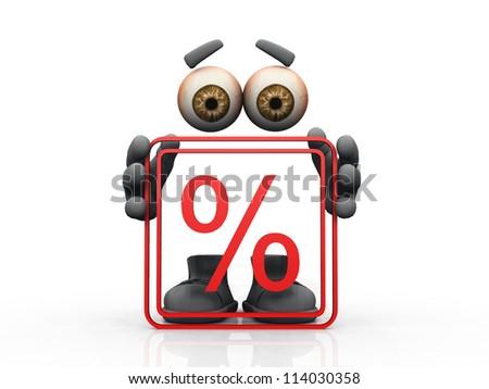 percentage  symbol on a white background - stock photo