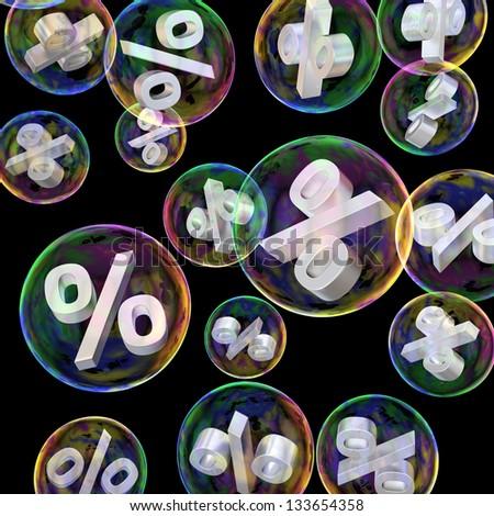 Percentage symbols in soap bubbles as a sale concept - stock photo