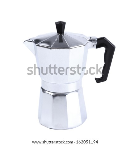 Percolator coffee with the lid closed. Isolated on a white background.
