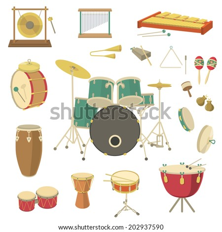 Percussion musical instruments in the flat style. Various classical orchestral musical instruments, concert stage, traditional national musical instruments. Cartoon graphic design elements set - stock photo