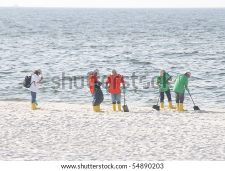 PERDIDO KEY, FL - JUNE 9: BP oil spill workers clean the beaches on June 9, 2010 as oil threatens the pristine Gulf Shores National seashore near Pensacola, FL. - stock photo