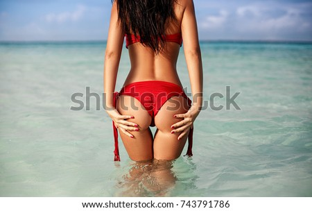 perfect ass young girl tropical island stock photo (royalty free