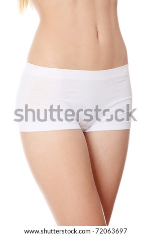 Perfect beautiful body of young girl , isolatedon a white background