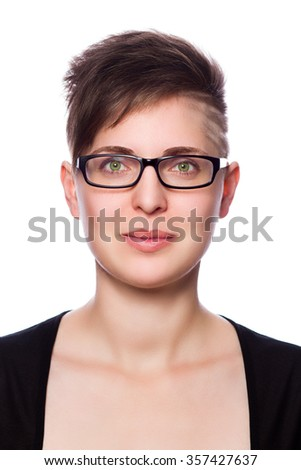 perfect beautiful young woman with modern short hair, wearing glasses - isolated